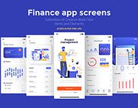 15 Finance app Screens for App on various topics