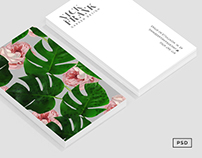 Monstera + Rose Pattern Business Card Template