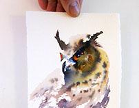 Eagle owl,  mini portrait
