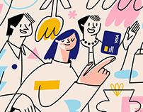 Brand illustrations for Vsi.Svoi & Visa collaboration
