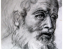 """After Raphael Drawing, """"Study of two apostles""""."""
