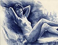 Woman ballpoint sketch
