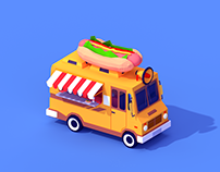 Low Poly Hot Dog Car