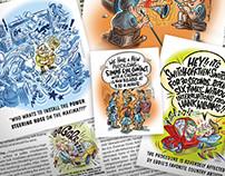Mighty Auto Parts Cartoon Advertising Illustrations