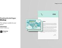 Postcard and A4 Paper Mockup