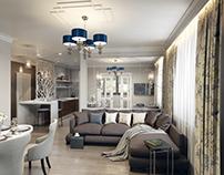 Visualization of kitchen-living room, corridor, balcony