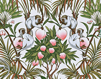 Monkeys and Peaches seamless pattern