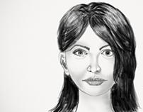 Digital Portrait Drawing Black & White
