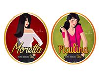 Etichette illustrate per Birra Lara.
