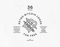 36 Retro Bitcoin Logos +1 Ether badge (FREE TEMPLATES)