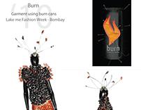 Installation art  - garment with  burn tins