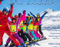 Ski lessons promotional card