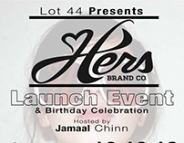 Hers Brand Company Launch party flyer