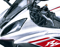 Yamaha R6 Pencil Drawing