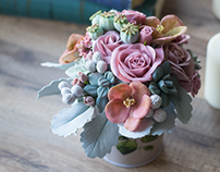 Bouquet of air dry clay