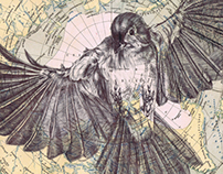 bic biro drawing on antique map.