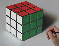 Rubik's Cube Oil Painting on Canvas