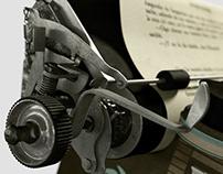 floating typewriter