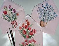 Watercolored envelopes