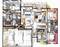 Real Estate Watercolor 3D Floor Plan III