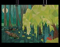 """Girl In Swamp"" Illustration"