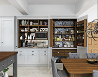 Painted Kitchen with Walnut Interiors - CGI