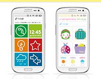 Android smartphone UI + Icon sets: One-line / Kawaii