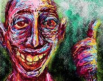 O Sorriso Melancólico De um Velho Maltratado no bar