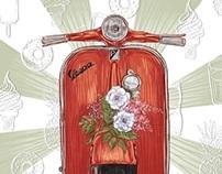 postcards: summer, journey, flowers, vespa and beetle