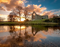 Bolton Abbey during sunset
