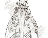 Knight girl sketch.