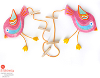 Papier mache birds, photo & artwork display hanger