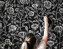 Chalk Wall of Dog Roses - Wallpaper