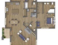 Log Home floor plan 2D rendering