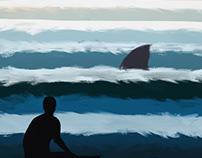 Shark dog surf hawaii concept illustration