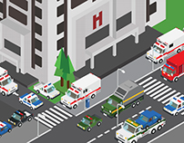 Hospital in the isometric city
