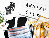Annikosilk elegant logo, packaging and business card