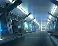Sci fi corridor concept,3d modeling and rendering