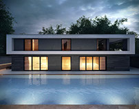 Architectural Rendering Exterior House Design.