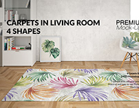 Carpets & Pillow in Living Room Mockup Set