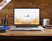 Free PSD : Macbook Pro Front View Mockup Free PSD