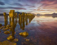 Sea Pillars - Rainbow Sky