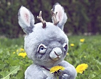 Gray Jackalope, fantasy creature, OOAK poseable art toy