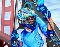 All West Lacrosse Player Pool Digital Illustration