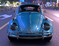 VW BEETLE CAR - BLUE FUSCA