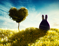 Heartshaped tree and the lonely bunny