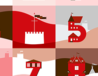 Illustrated numbers inspired by castles