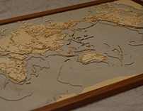 Relief map - A model in wood and cardboard