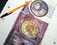 Prague Clock Illustration on postal cards