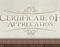 Certificate of Apprecation